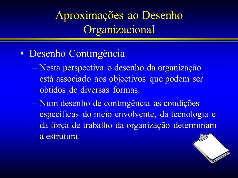 Aproximações ao Desenho Organizacional Desenho Contingência –Nesta perspectiva o desenho da organização está associado aos objectivos que podem ser ob