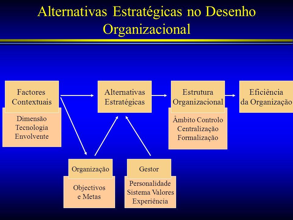 Objectivos e Metas Personalidade Sistema Valores Experiência Âmbito Controlo Centralização Formalização Dimensão Tecnologia Envolvente Alternativas Es
