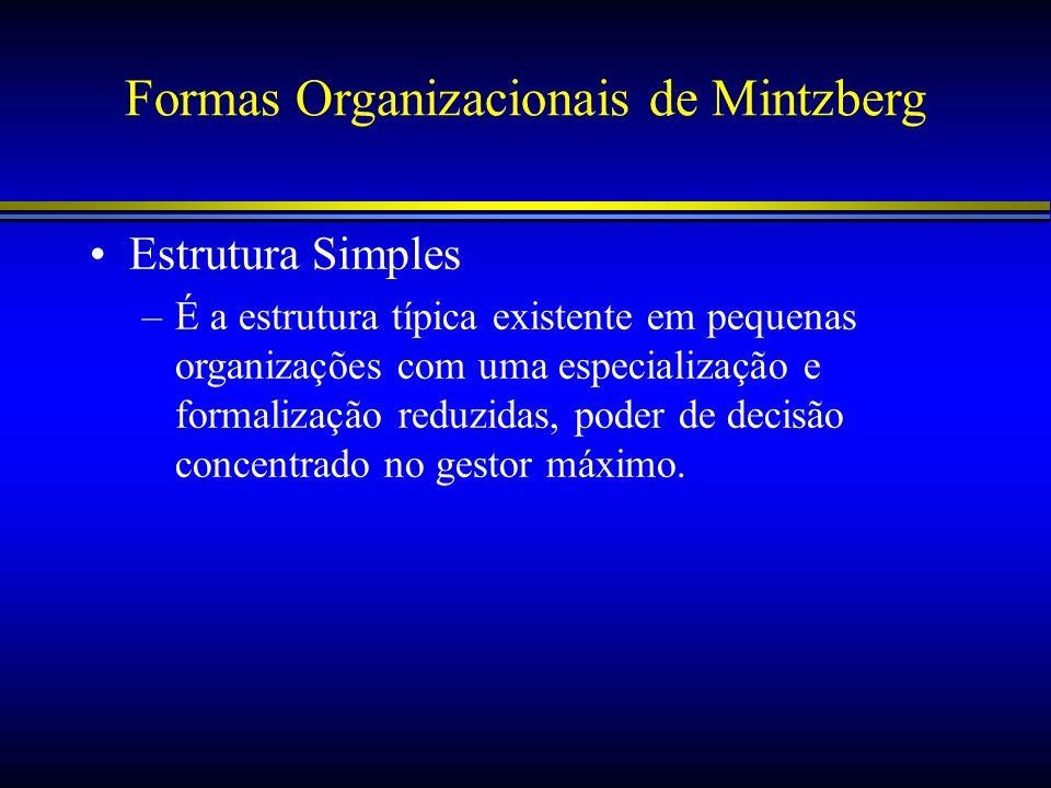 Formas Organizacionais de Mintzberg Estrutura Simples –É a estrutura típica existente em pequenas organizações com uma especialização e formalização r