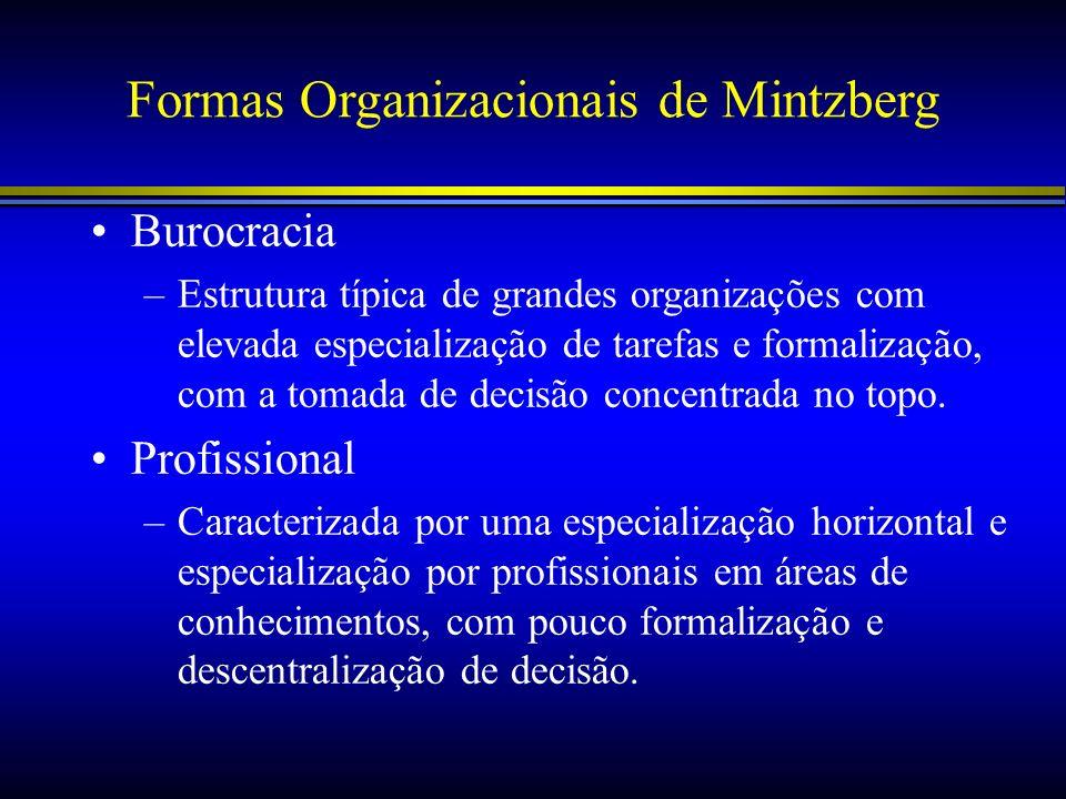 Formas Organizacionais de Mintzberg Burocracia –Estrutura típica de grandes organizações com elevada especialização de tarefas e formalização, com a t