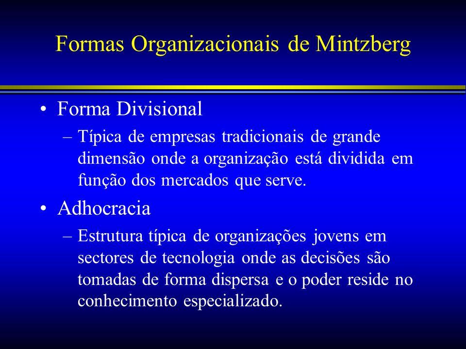 Formas Organizacionais de Mintzberg Forma Divisional –Típica de empresas tradicionais de grande dimensão onde a organização está dividida em função do