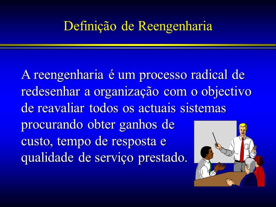 Definição de Reengenharia A reengenharia é um processo radical de redesenhar a organização com o objectivo de reavaliar todos os actuais sistemas proc