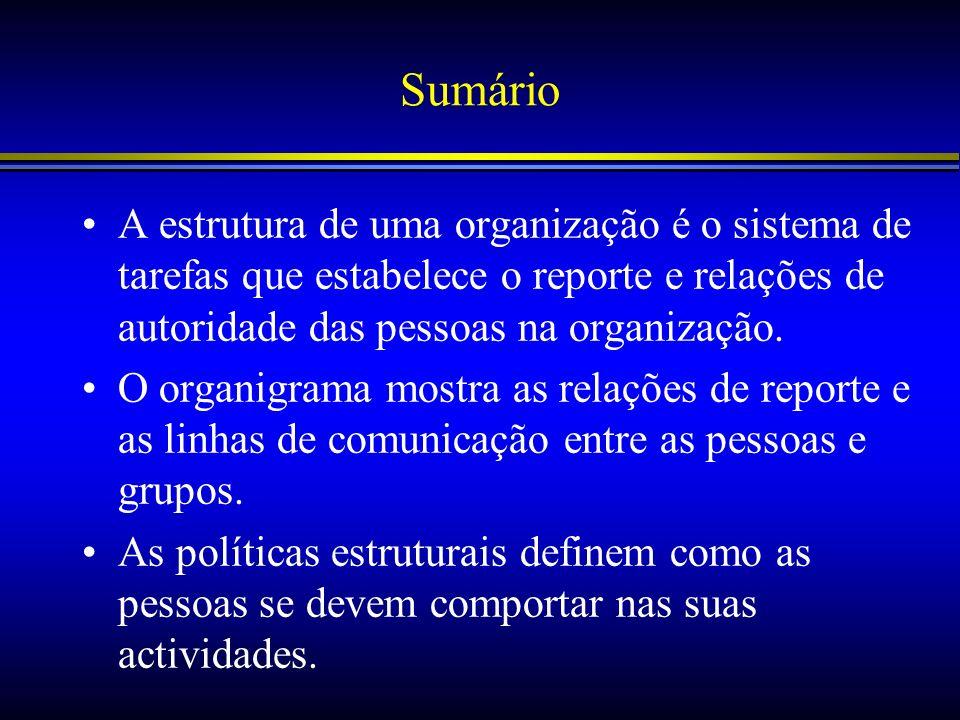Sumário A estrutura de uma organização é o sistema de tarefas que estabelece o reporte e relações de autoridade das pessoas na organização. O organigr