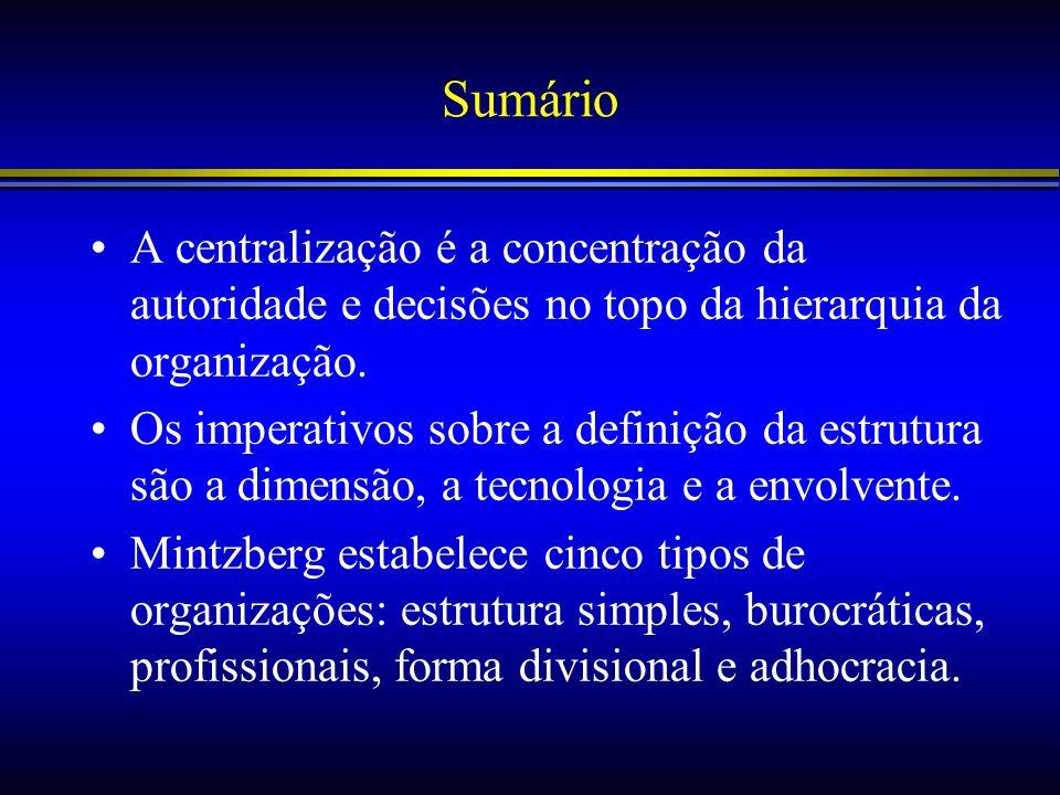 Sumário A centralização é a concentração da autoridade e decisões no topo da hierarquia da organização. Os imperativos sobre a definição da estrutura