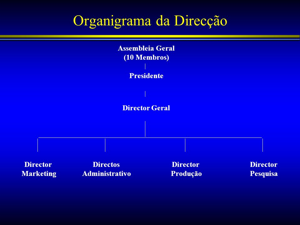 Organigrama da Direcção Assembleia Geral (10 Membros) Presidente Director Geral Director Marketing Director Pesquisa Directos Administrativo Director