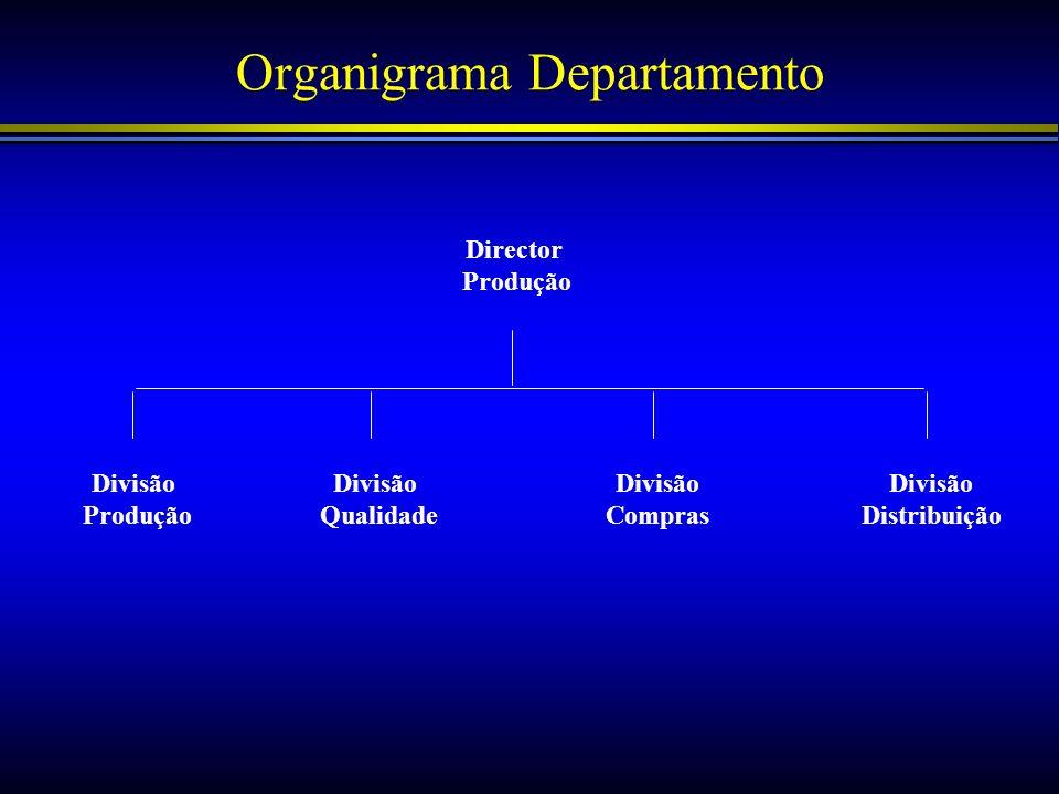 Organigrama Departamento Director Produção Divisão Produção Divisão Distribuição Divisão Qualidade Divisão Compras