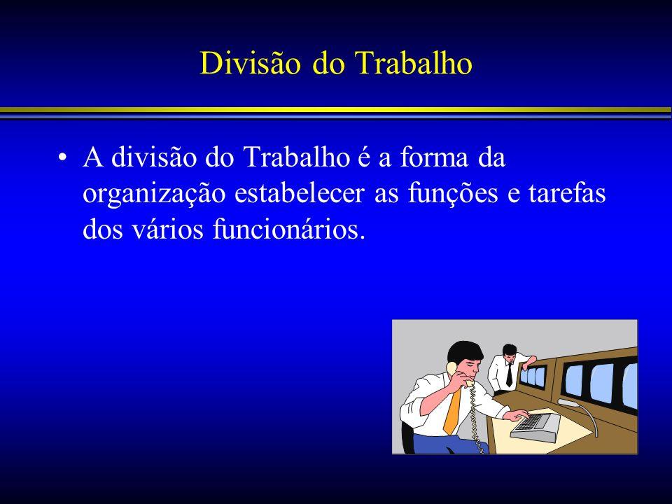 Divisão do Trabalho A divisão do Trabalho é a forma da organização estabelecer as funções e tarefas dos vários funcionários.