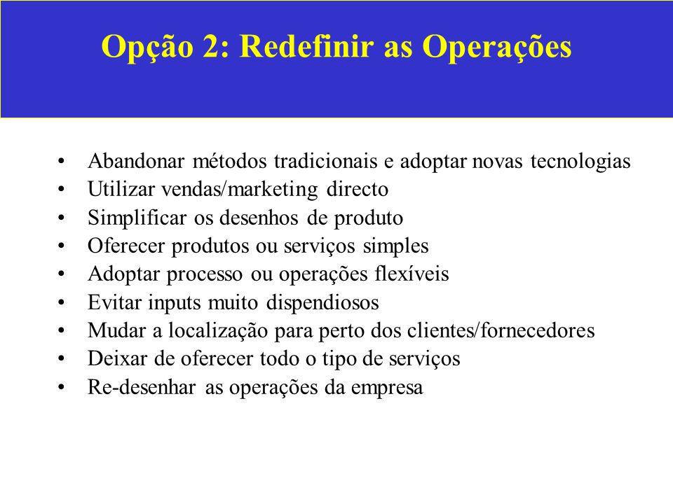 Opção 2: Redefinir as Operações Abandonar métodos tradicionais e adoptar novas tecnologias Utilizar vendas/marketing directo Simplificar os desenhos d