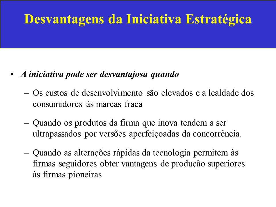 Desvantagens da Iniciativa Estratégica A iniciativa pode ser desvantajosa quando –Os custos de desenvolvimento são elevados e a lealdade dos consumido