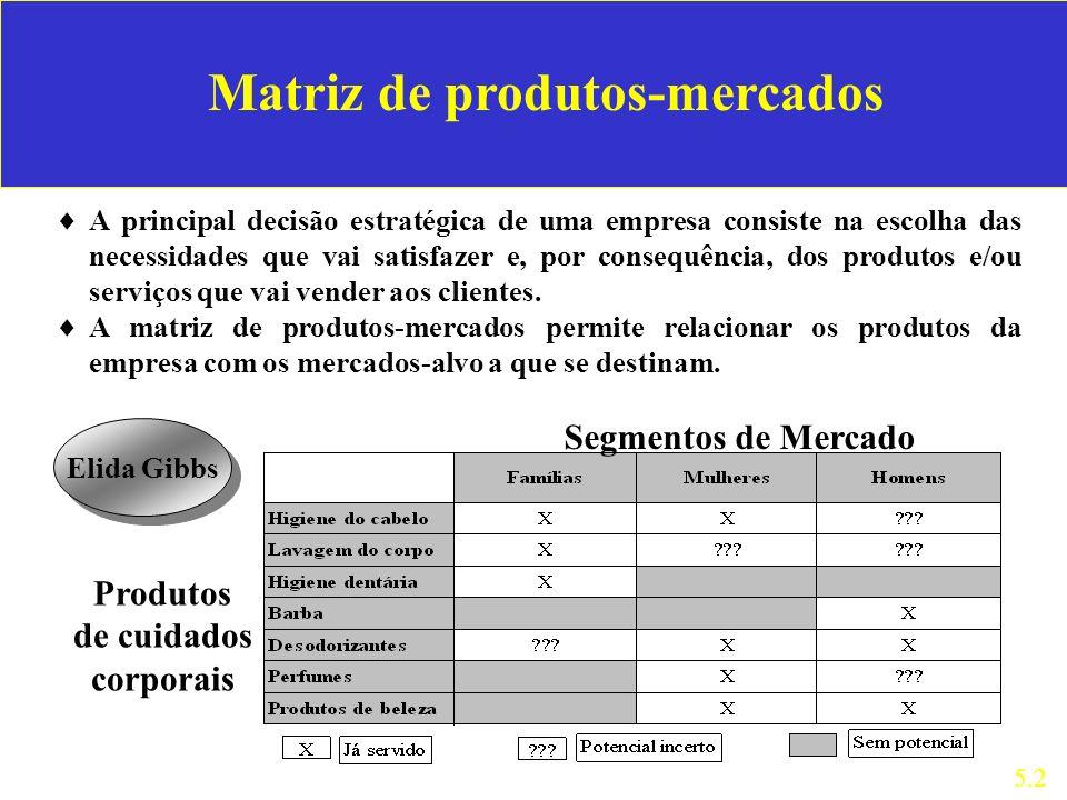 Matriz de produtos-mercados A principal decisão estratégica de uma empresa consiste na escolha das necessidades que vai satisfazer e, por consequência