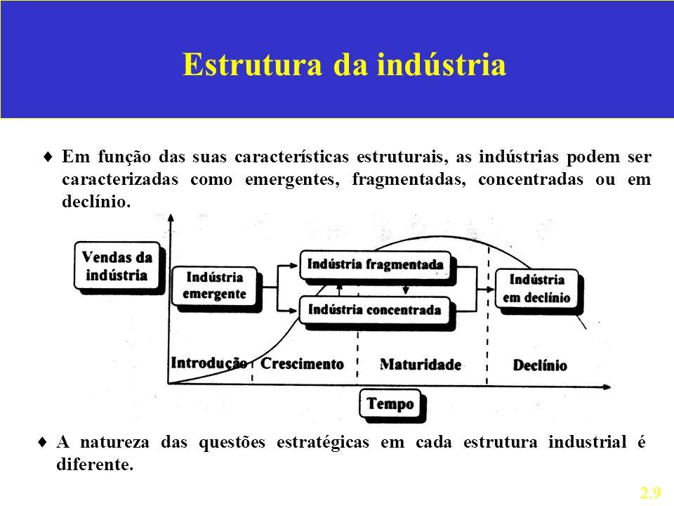 Estrutura da indústria Em função das suas características estruturais, as indústrias podem ser caracterizadas como emergentes, fragmentadas, concentra