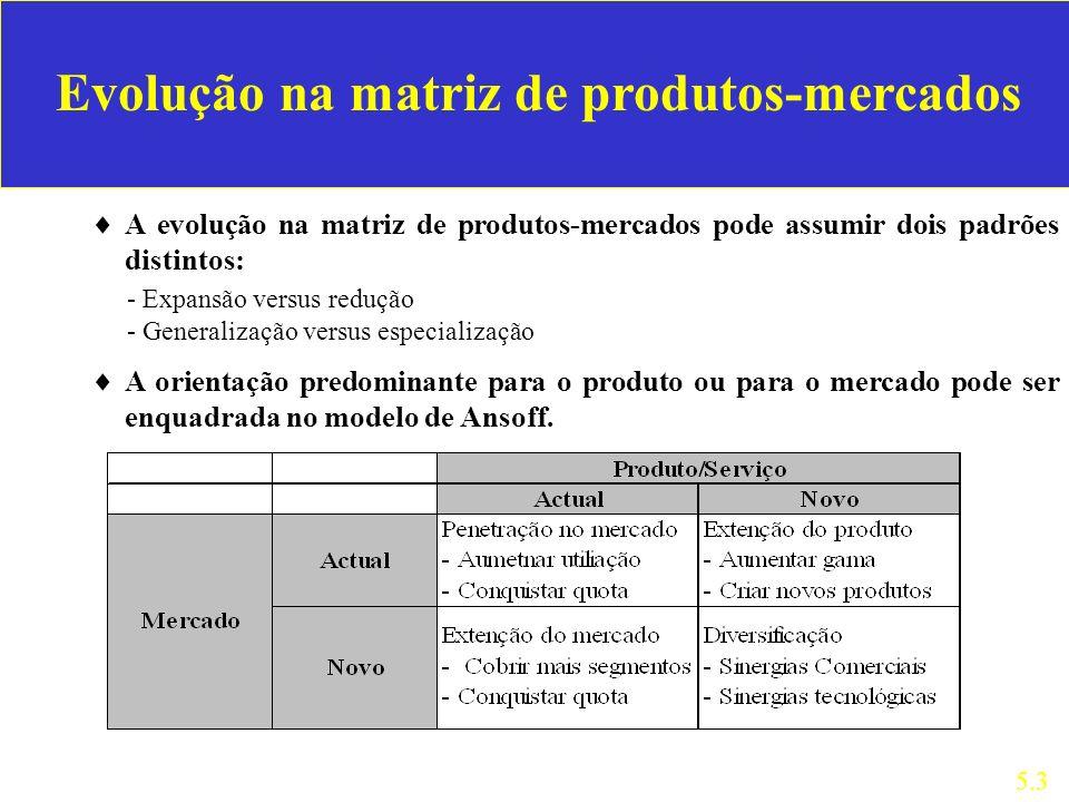 A evolução na matriz de produtos-mercados pode assumir dois padrões distintos: 5.3 - Expansão versus redução - Generalização versus especialização A o