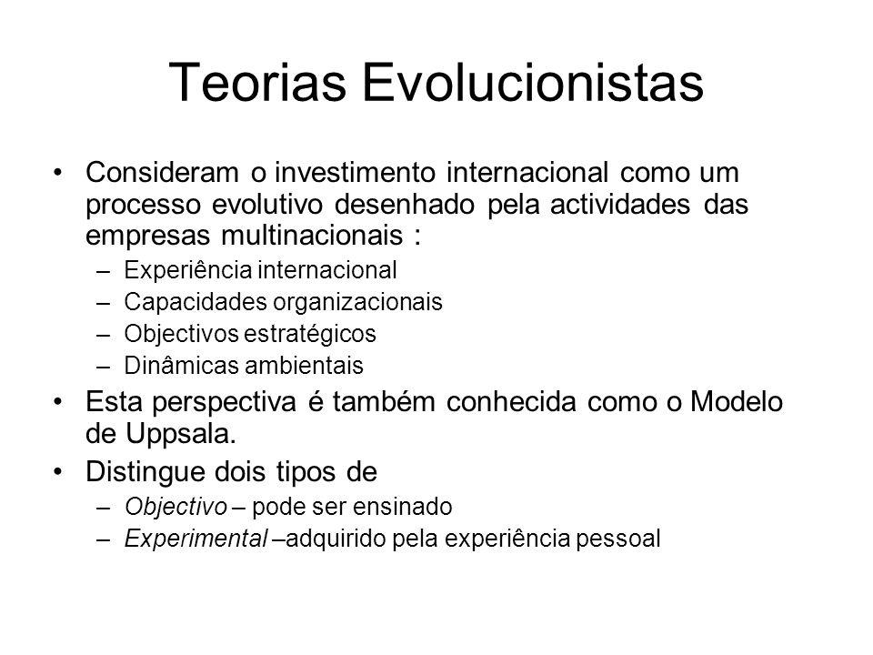 Teorias Evolucionistas Consideram o investimento internacional como um processo evolutivo desenhado pela actividades das empresas multinacionais : –Ex