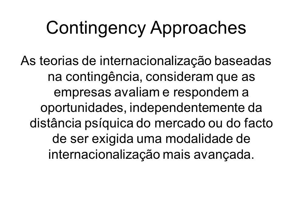 Contingency Approaches As teorias de internacionalização baseadas na contingência, consideram que as empresas avaliam e respondem a oportunidades, ind