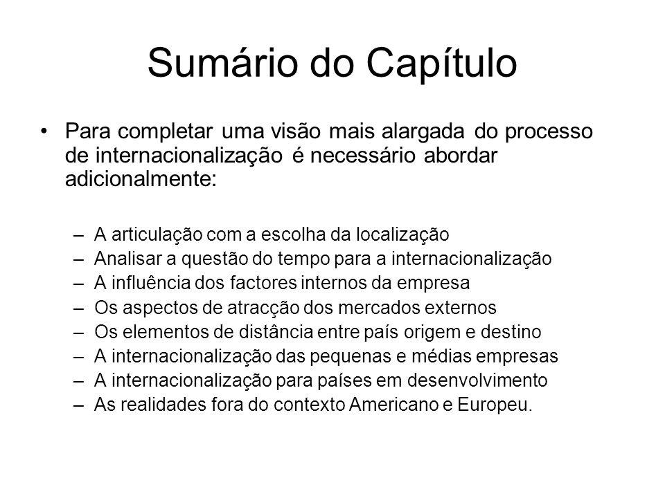 Sumário do Capítulo Para completar uma visão mais alargada do processo de internacionalização é necessário abordar adicionalmente: –A articulação com