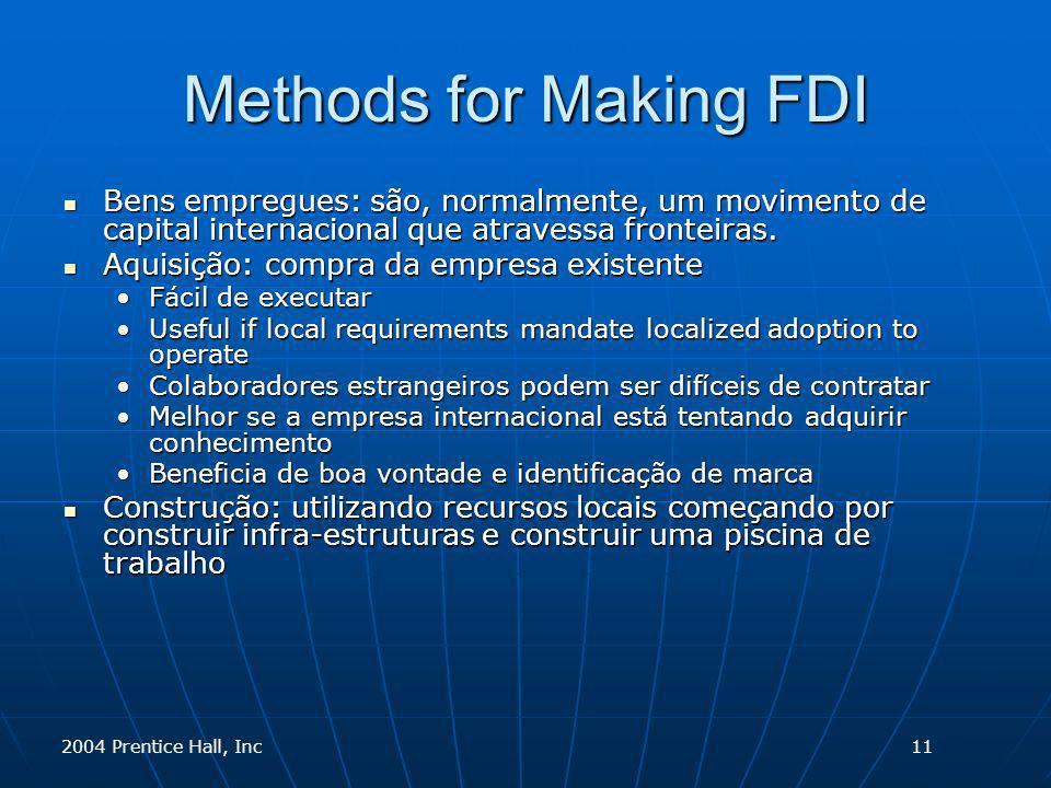 2004 Prentice Hall, Inc Methods for Making FDI Bens empregues: são, normalmente, um movimento de capital internacional que atravessa fronteiras. Bens