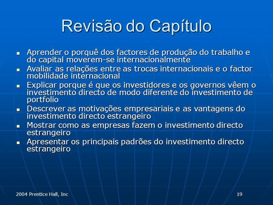 2004 Prentice Hall, Inc Revisão do Capítulo Aprender o porquê dos factores de produção do trabalho e do capital moverem-se internacionalmente Aprender