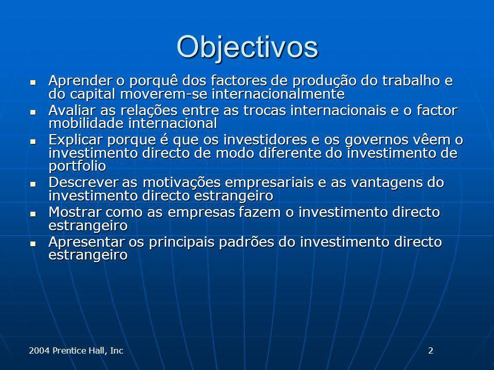 2004 Prentice Hall, Inc Investimento Directo Estrangeiro e Controlo As empresas internacionais querem controlar as suas operações internacionais para que possam atingir os seus objectivos globais As empresas internacionais querem controlar as suas operações internacionais para que possam atingir os seus objectivos globais O controlo tem de ser acompanhado pelo investimento O controlo tem de ser acompanhado pelo investimento Definir o investimento directo é arbitrário Definir o investimento directo é arbitrário As empresas são relutantes em transferir recursos vitais para outra organização sem fazer controlo As empresas são relutantes em transferir recursos vitais para outra organização sem fazer controlo CapitalCapital PatentesPatentes Marcas registadasMarcas registadas Gestão de know-howGestão de know-how 3