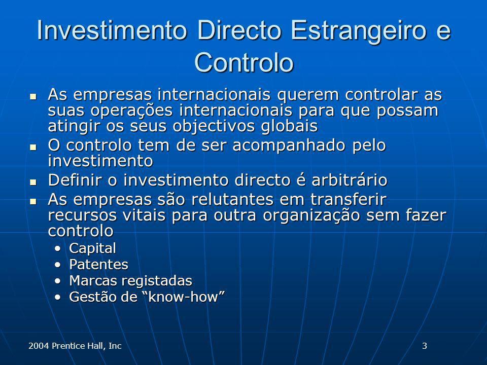 2004 Prentice Hall, Inc Investimento Directo Estrangeiro e Controlo As empresas internacionais querem controlar as suas operações internacionais para