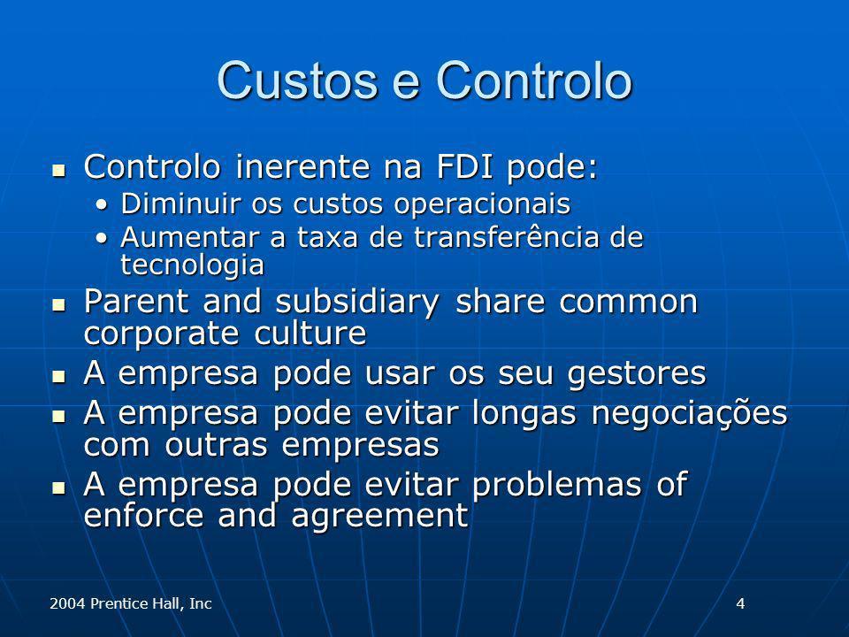 2004 Prentice Hall, Inc Custos e Controlo Controlo inerente na FDI pode: Controlo inerente na FDI pode: Diminuir os custos operacionaisDiminuir os cus