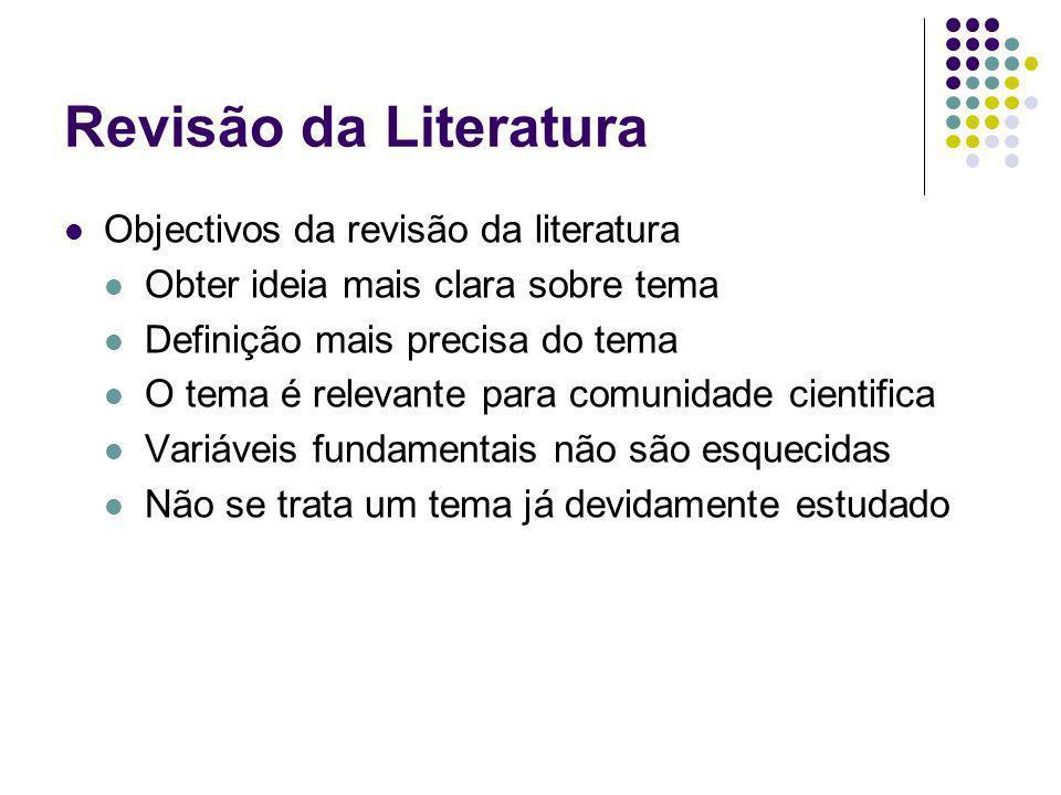 Revisão da Literatura Objectivos da revisão da literatura Obter ideia mais clara sobre tema Definição mais precisa do tema O tema é relevante para com