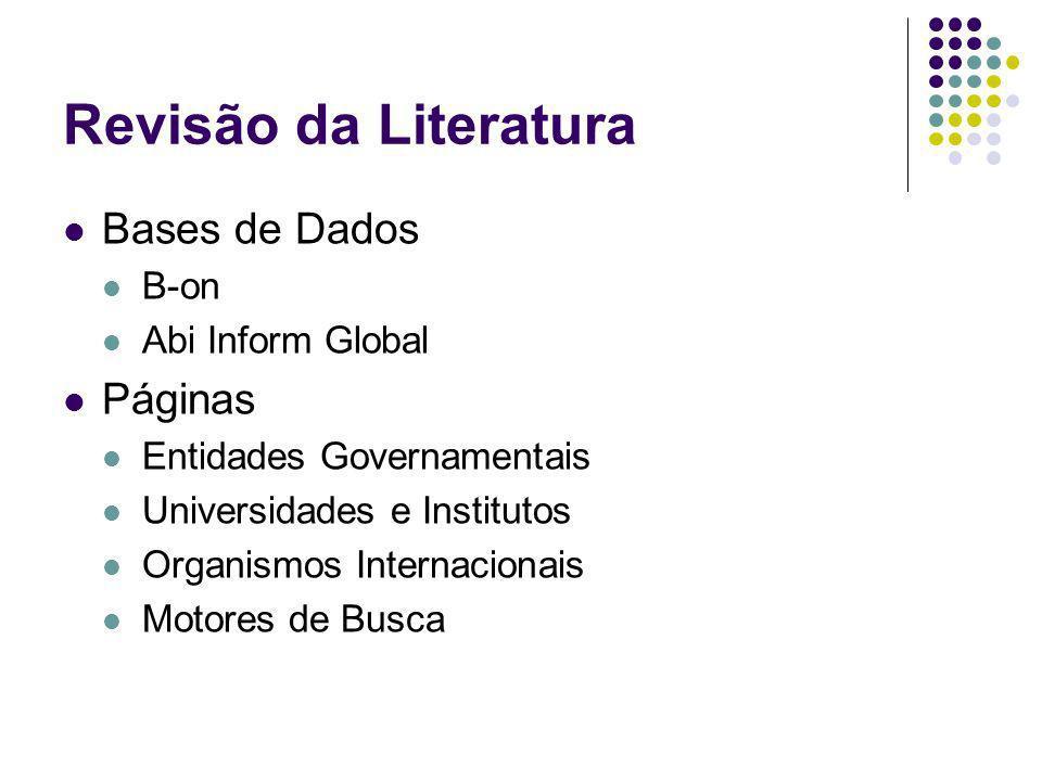 Revisão da Literatura Bases de Dados B-on Abi Inform Global Páginas Entidades Governamentais Universidades e Institutos Organismos Internacionais Moto