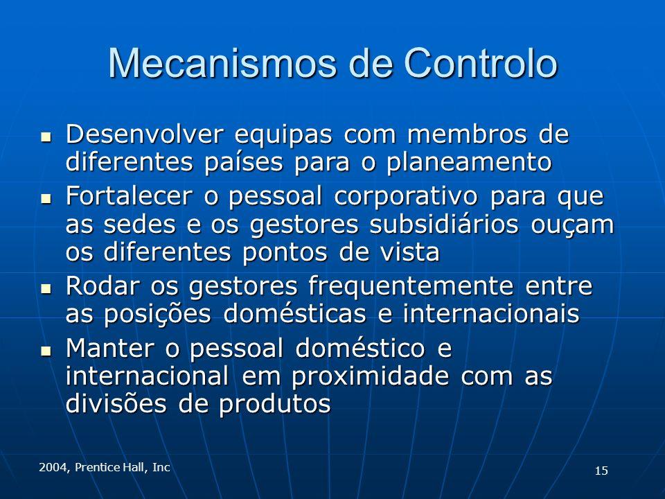 2004, Prentice Hall, Inc Mecanismos de Controlo Desenvolver equipas com membros de diferentes países para o planeamento Desenvolver equipas com membro