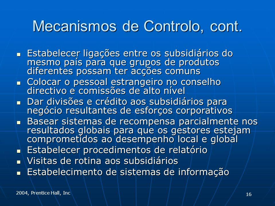 2004, Prentice Hall, Inc Mecanismos de Controlo, cont. Estabelecer ligações entre os subsidiários do mesmo país para que grupos de produtos diferentes