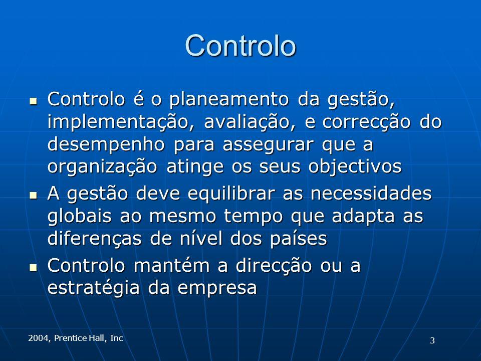 2004, Prentice Hall, Inc Controlo Controlo é o planeamento da gestão, implementação, avaliação, e correcção do desempenho para assegurar que a organização atinge os seus objectivos Controlo é o planeamento da gestão, implementação, avaliação, e correcção do desempenho para assegurar que a organização atinge os seus objectivos A gestão deve equilibrar as necessidades globais ao mesmo tempo que adapta as diferenças de nível dos países A gestão deve equilibrar as necessidades globais ao mesmo tempo que adapta as diferenças de nível dos países Controlo mantém a direcção ou a estratégia da empresa Controlo mantém a direcção ou a estratégia da empresa 3