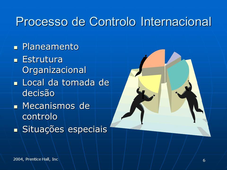 2004, Prentice Hall, Inc Processo de Controlo Internacional Planeamento Planeamento Estrutura Organizacional Estrutura Organizacional Local da tomada de decisão Local da tomada de decisão Mecanismos de controlo Mecanismos de controlo Situações especiais Situações especiais 6