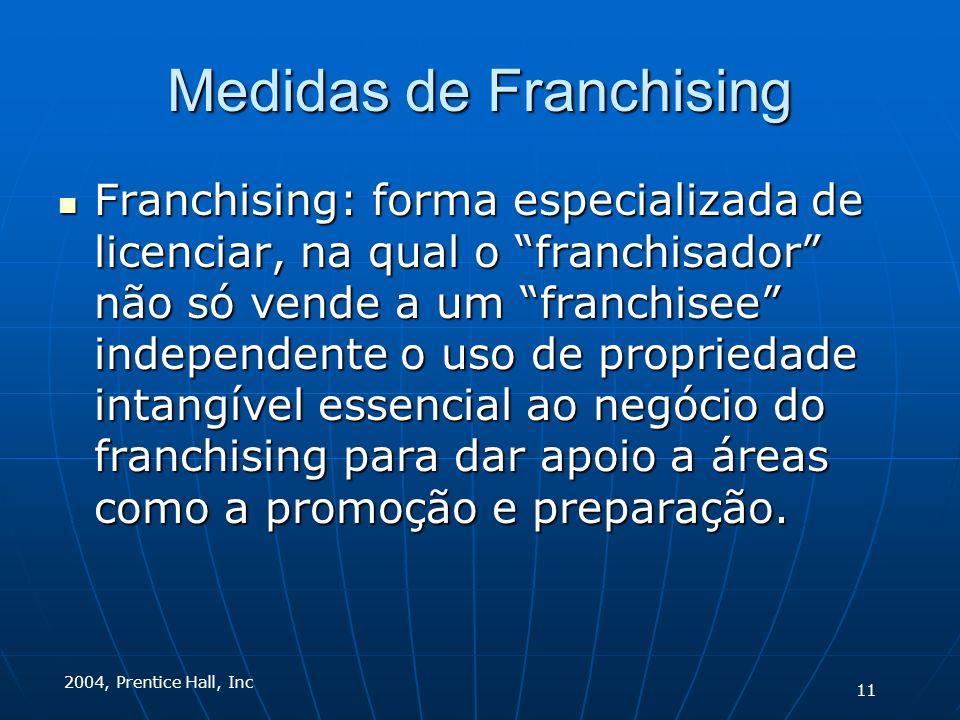 2004, Prentice Hall, Inc Medidas de Franchising Franchising: forma especializada de licenciar, na qual o franchisador não só vende a um franchisee independente o uso de propriedade intangível essencial ao negócio do franchising para dar apoio a áreas como a promoção e preparação.