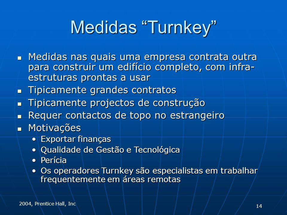 2004, Prentice Hall, Inc Medidas Turnkey Medidas nas quais uma empresa contrata outra para construir um edifício completo, com infra- estruturas pront