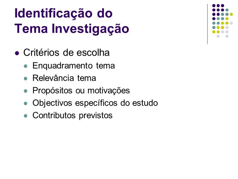 Identificação do Tema Investigação Critérios de escolha Enquadramento tema Relevância tema Propósitos ou motivações Objectivos específicos do estudo C