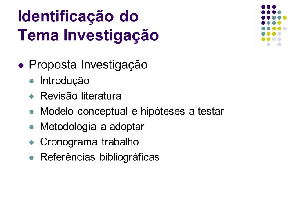 Identificação do Tema Investigação Proposta Investigação Introdução Revisão literatura Modelo conceptual e hipóteses a testar Metodologia a adoptar Cr