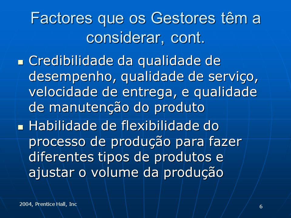 2004, Prentice Hall, Inc Factores que os Gestores têm a considerar, cont.
