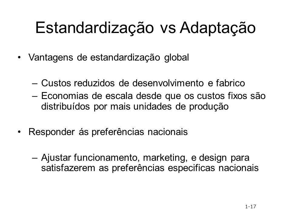 Estandardização vs Adaptação Vantagens de estandardização global –Custos reduzidos de desenvolvimento e fabrico –Economias de escala desde que os cust