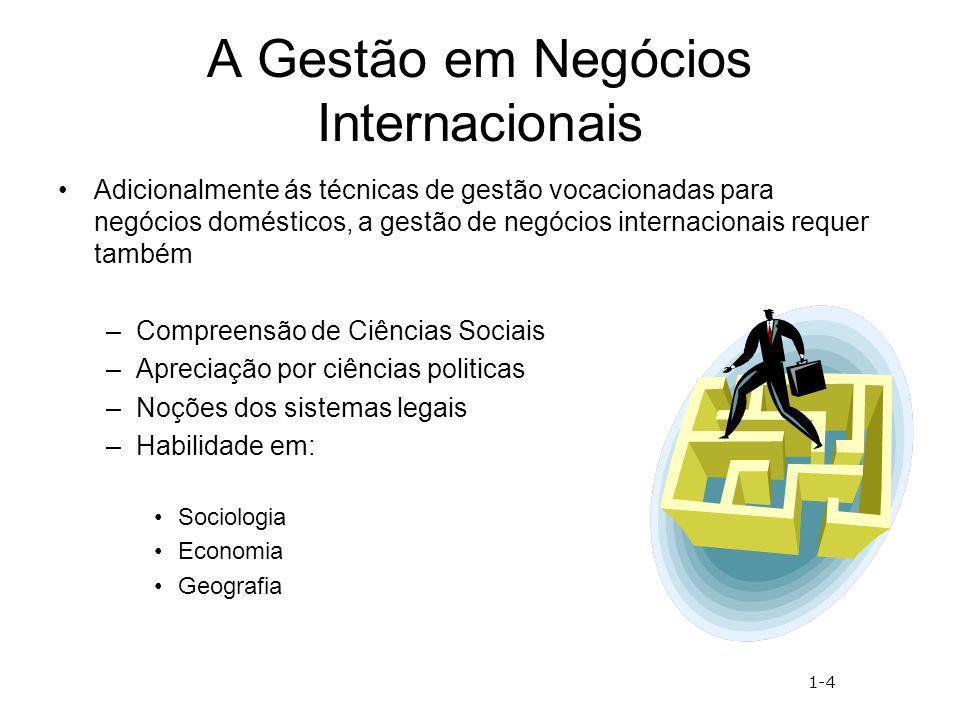 A Gestão em Negócios Internacionais Adicionalmente ás técnicas de gestão vocacionadas para negócios domésticos, a gestão de negócios internacionais re