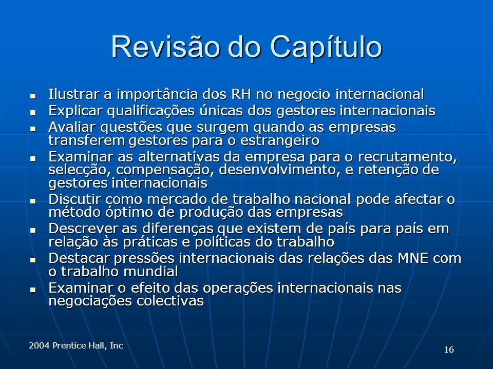 Revisão do Capítulo Ilustrar a importância dos RH no negocio internacional Ilustrar a importância dos RH no negocio internacional Explicar qualificaçõ