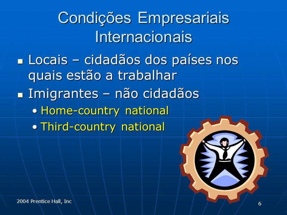 2004 Prentice Hall, Inc Condições Empresariais Internacionais Locais – cidadãos dos países nos quais estão a trabalhar Locais – cidadãos dos países no