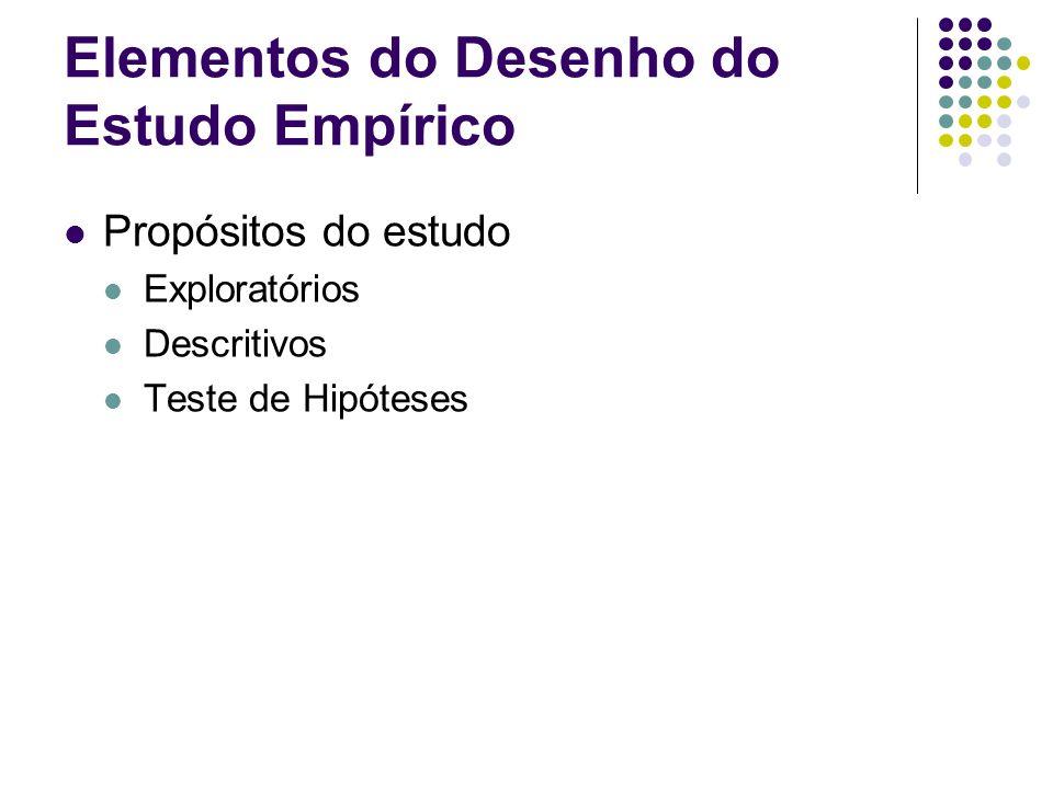 Elementos do Desenho do Estudo Empírico Tipo de investigação Causal Correlacional Diferenças de Grupos, rankings, etc.