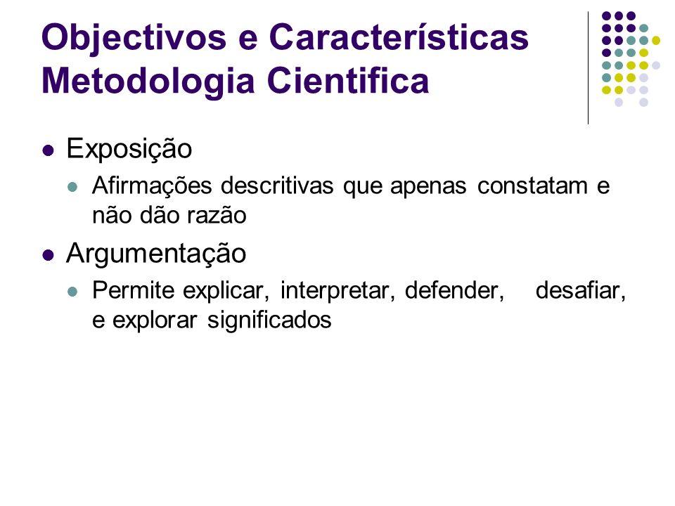 Objectivos e Características Metodologia Cientifica Tipos de processo de investigação: Indutiva Identificação de dimensões e proposições Dedutiva Estimação de modelos e teste de hipóteses