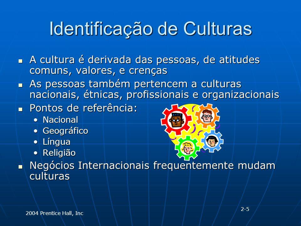 2004 Prentice Hall, Inc Identificação de Culturas A cultura é derivada das pessoas, de atitudes comuns, valores, e crenças A cultura é derivada das pessoas, de atitudes comuns, valores, e crenças As pessoas também pertencem a culturas nacionais, étnicas, profissionais e organizacionais As pessoas também pertencem a culturas nacionais, étnicas, profissionais e organizacionais Pontos de referência: Pontos de referência: NacionalNacional GeográficoGeográfico LínguaLíngua ReligiãoReligião Negócios Internacionais frequentemente mudam culturas Negócios Internacionais frequentemente mudam culturas 2-5