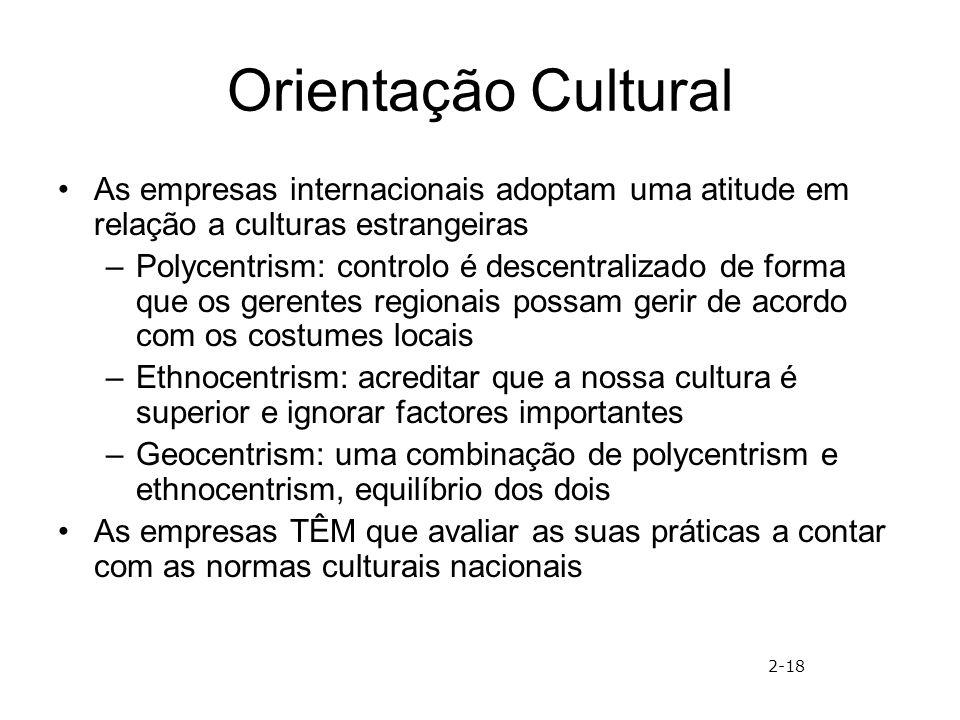 Orientação Cultural As empresas internacionais adoptam uma atitude em relação a culturas estrangeiras –Polycentrism: controlo é descentralizado de for