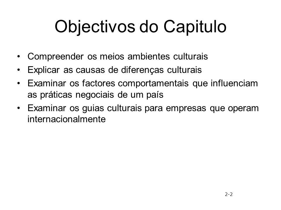 Objectivos do Capitulo Compreender os meios ambientes culturais Explicar as causas de diferenças culturais Examinar os factores comportamentais que in