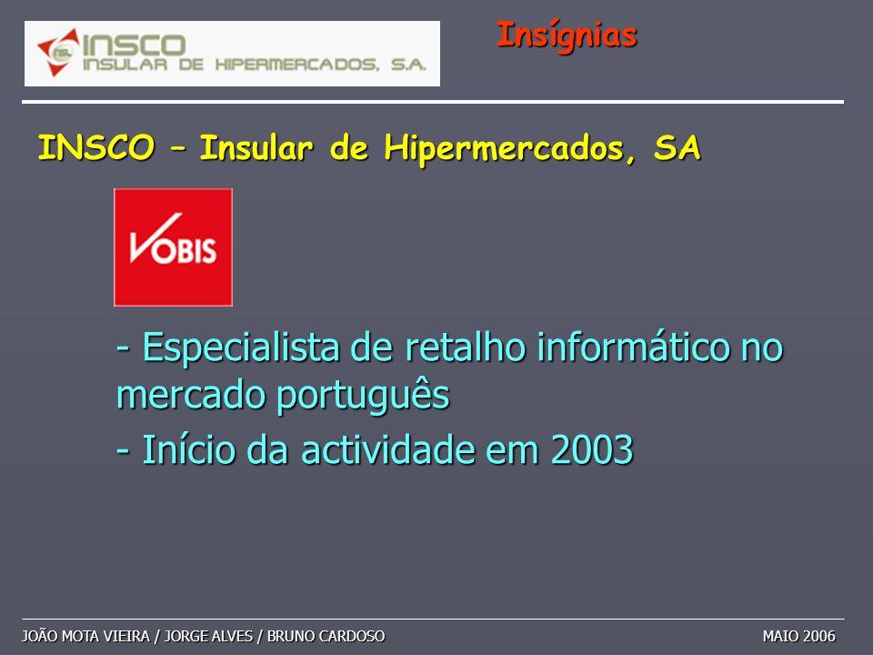 INSCO – Insular de Hipermercados, SA JOÃO MOTA VIEIRA / JORGE ALVES / BRUNO CARDOSO MAIO 2006 Insígnias - Especialista de retalho informático no merca