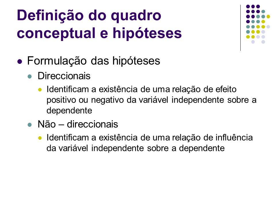 Definição do quadro conceptual e hipóteses Hipótese nula Afirmação onde se estabelece o inverso do estabelecido na hipótese do estudo e se verifica se tal situação pode ser rejeitada.