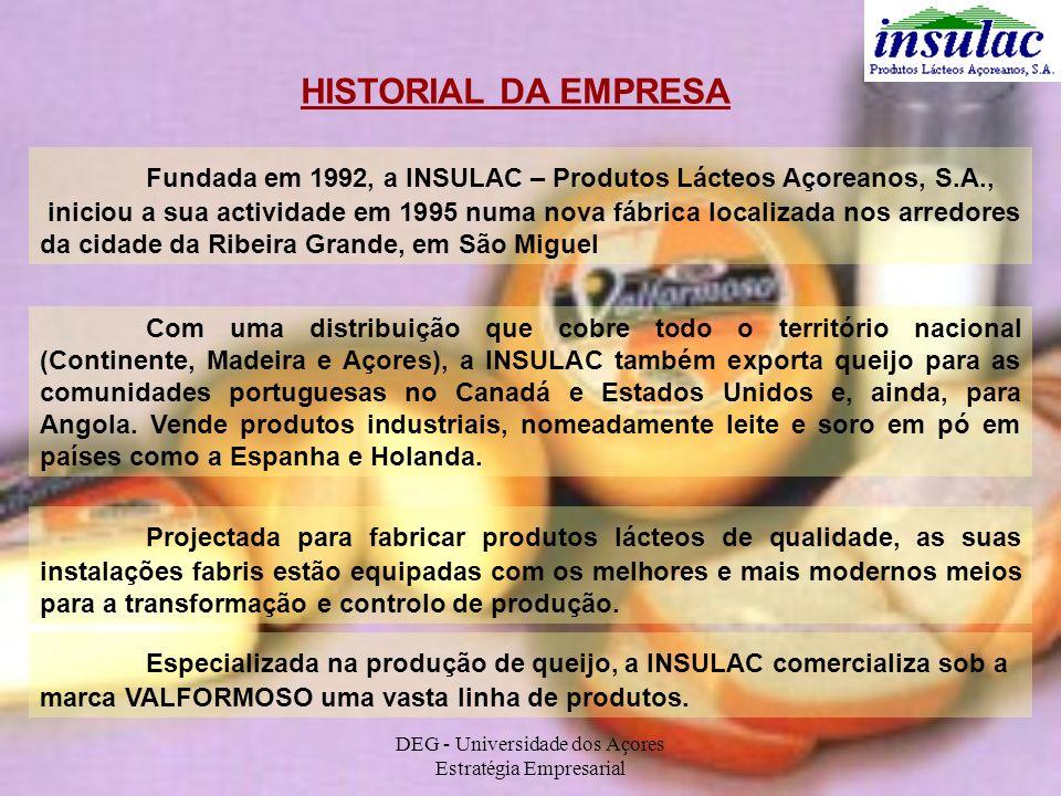 HISTORIAL DA EMPRESA Fundada em 1992, a INSULAC – Produtos Lácteos Açoreanos, S.A., iniciou a sua actividade em 1995 numa nova fábrica localizada nos