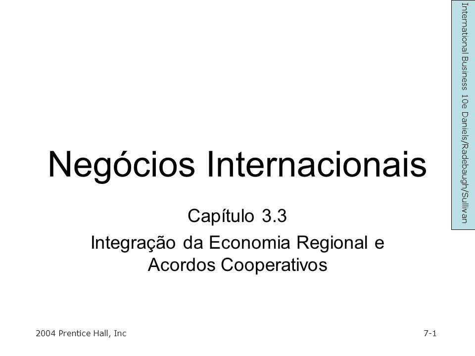Objectivos do Capítulo Definir várias formas de integração económica e como estas afectam negócios internacionais Descrever os efeitos dinâmicos e estáticos e as dimensões comerciais de desvio e criação da integração comercial Grupos regionais comerciais actuais (EU, NAFTA, APEC) Descrever as razões e o sucesso de acordos por produtos de base Discutir os efeitos da integração económica no meio ambiente 7-2