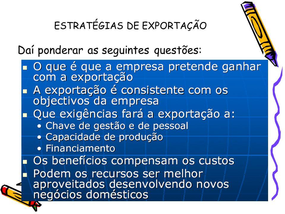 ESTRATÉGIAS DE EXPORTAÇÃO Daí ponderar as seguintes questões:
