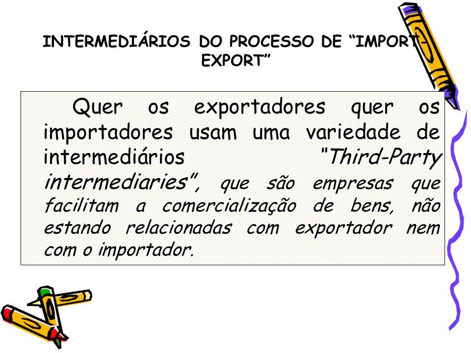 INTERMEDIÁRIOS DO PROCESSO DE IMPORT- EXPORT Quer os exportadores quer os importadores usam uma variedade de intermediários Third-Party intermediaries